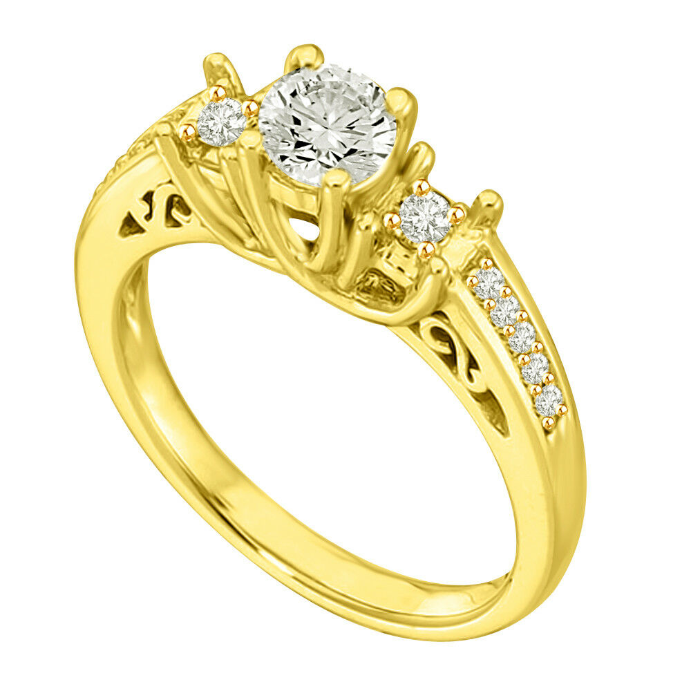0.43 TCW K SI2 SDJ Cert Real Diamond Engagement Bridal Ring in 18kt Yellow gold