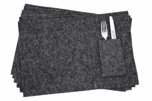 45x30 cm Tisch Platz Set Matte 6x Filz Platzdecke mit Bestecktasche schwarz