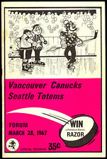1967 68 VANCOUVER CANUCKS PROGRAM VS SEATTLE TOTEMS WITH PAT QUINN DON SIMMONS