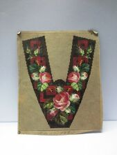 ANTIQUE BERLIN HAND PAINTED WOOL WORK EMBROIDERY TAPESTRY PATTERN FLORAL ROSES