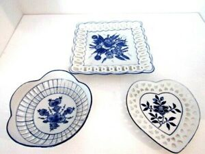 Vintage White & Blue Floral Reticulated & Ribbed Set of 3 Plates