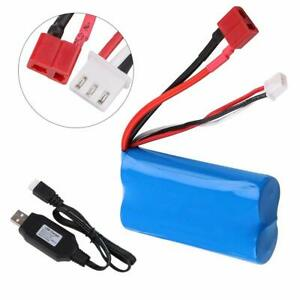 Lipo-Battery-7-4V-2000mAh-Akku-20C-T-Plug-mit-USB-Ladekabel-fuer-RC-Car-Truck
