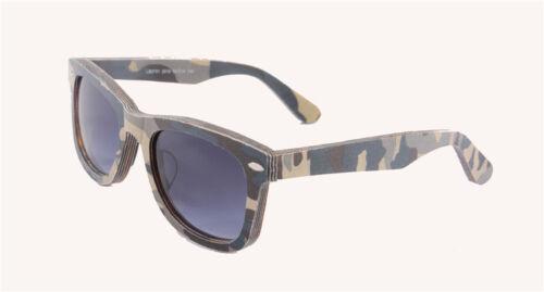 Designer Holz Sonnenbrille Brille Holz unisex Tarn Farbe Militär Army Herren