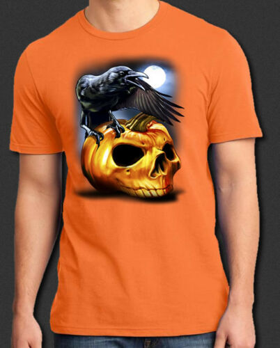 Raven Crow Skull Moon Halloween Horror New T-Shirt S-6XL