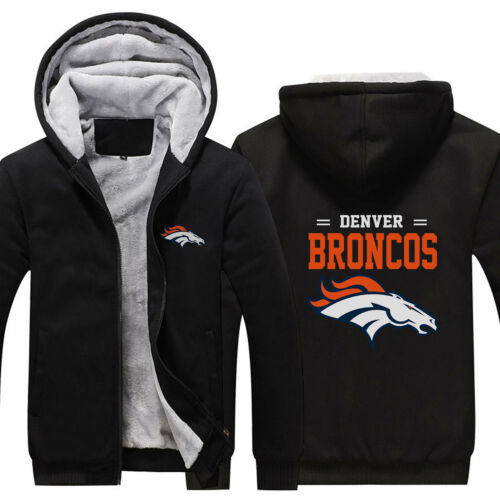 ritssluiting Winterjas sweatshirt Warm 2018 Fans Denver Hoodie Fleece Broncos vN08wOmn