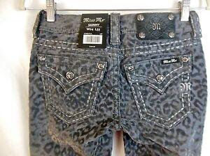 NEW-Miss-Me-Dark-Gray-24-x-33-Flocked-Leopard-Print-Skinny-Jeans-NWT-109-Cargo