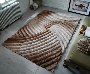 NEW-HEAVYWEIGHT-THICK-SOFT-CARVED-PILE-BEIGE-BROWN-NATURAL-3D-VERGE-FURROW-RUG