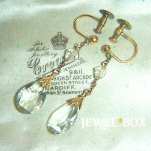 ART-DECO-PASTE-Rock-CRYSTAL-ROLLED-GOLD-VINTAGE-PENDANT-EARRINGS-match-Necklace