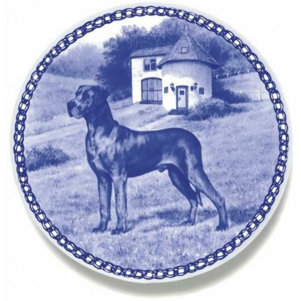 Great Dane - Blau - Dog Plate made in Denmark from the finest European Porcelain