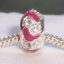 Cranberry Purple Enamel Rhinestone Spacer Bead Gift for European Charm Bracelets
