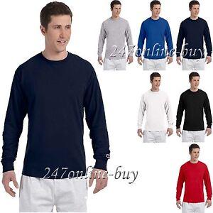 56a083a98654 Champion Mens Long Sleeve T Shirt Cotton Tee S M L XL 2XL CC8C | eBay