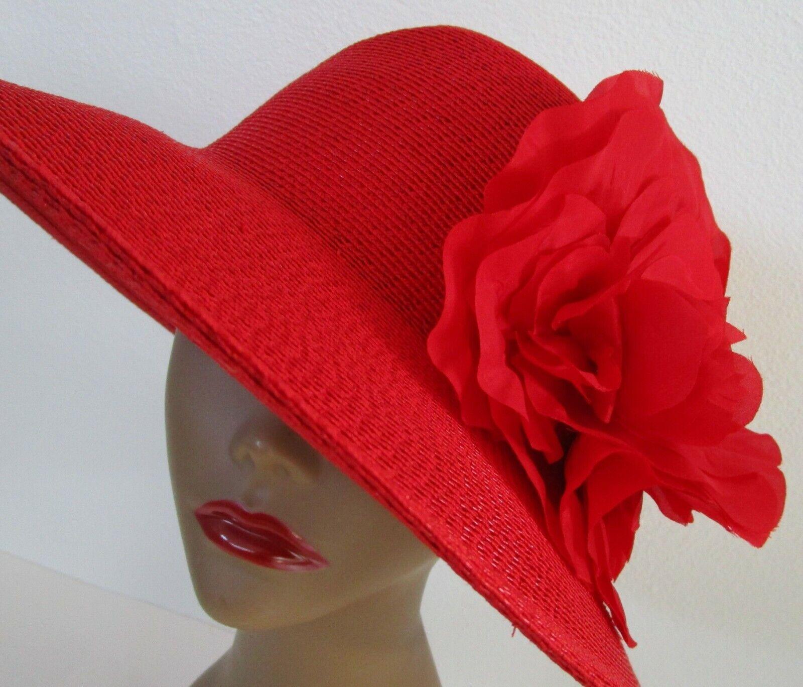 Patricia Underwood Red Wide Brim Hat Silk Flower … - image 1