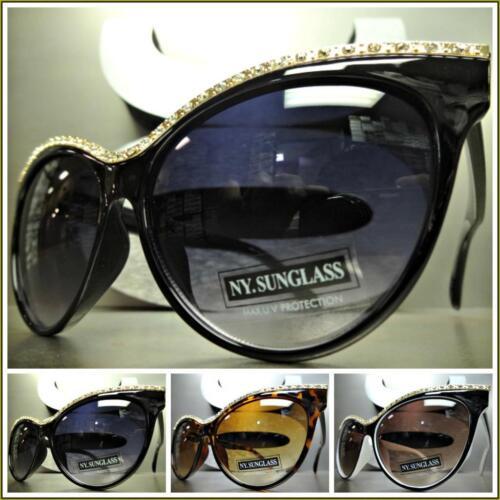 EXAGGERATED VINTAGE RETRO Hot CAT EYE Style BLING SUN GLASSES Designer Fashion