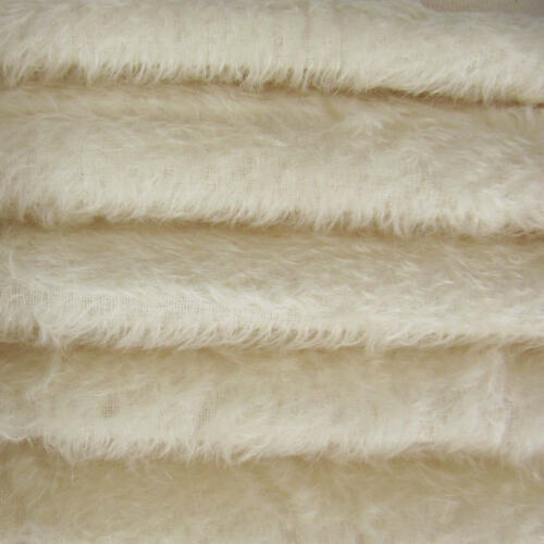 1/4 yd 300S/C White INTERCAL 1/2 Ultra-Sparse Curly S-Finish Mohair Fur Fabric