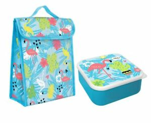 Lunch-Cooler-Bag-Set-Blue-Flamingo-Handy-School-Fresh-Storage-Insulated-Cooling