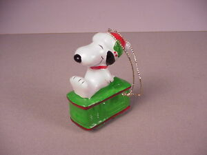 image is loading vintage snoopy christmas ornament ceramic in trolley car