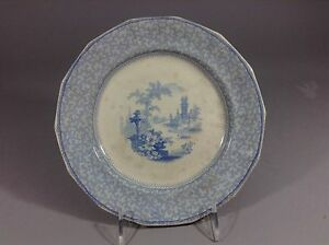 Staffordshire blue&white G. philips Marino pattern Longport plate 19c