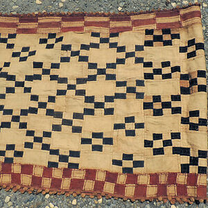 an old 200 x 32 inch hand woven african textile mali #27