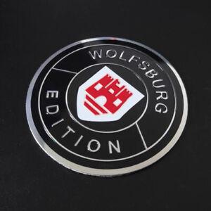 4x-60mm-WOLFSBURG-EDITION-Schwarz-Rot-Embleme-Aluminium-Aufkleber-fuer-VW