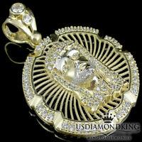 Men's 10k Yellow 100% Gold Jesus Medallion Cross Charm Pendant 1.75 7 Grams