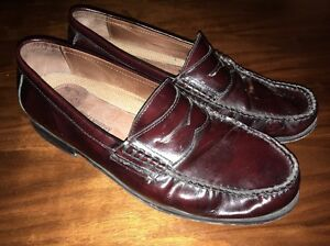 8e127f44bb8 Image is loading JOHNSTON-amp-MURPHY-Mens-PANNELL-Burgundy-PENNY-Loafers-