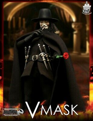 "1//12 Scale VMASK Vendetta Headsculpt Masked 6/"" Action Figure BH004 Bullet Head"