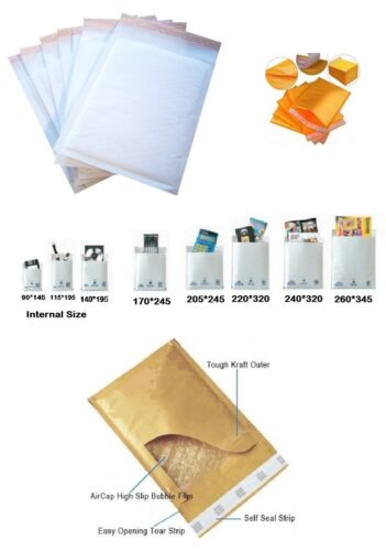 200 White Bubble Padded Mailers Envelopes Bags Bags D A JL JF 220mm*320mm