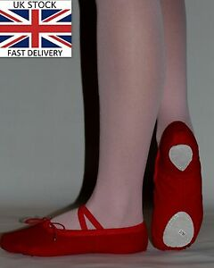 Ballet-Shoes-Slippers-Red-Canvas-Adults-Sizes-Dance-Gymnastics-Yoga-Shoes-New