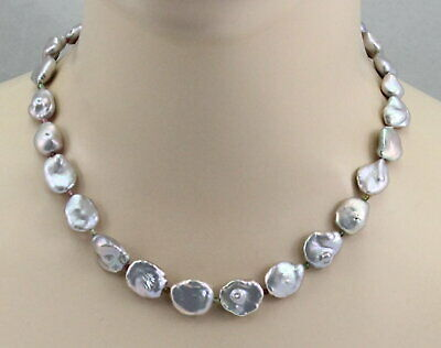Silbergraue Keshi Süßwasserperlen Mit Turmalin 46,5 Cm Lang Entlastung Von Hitze Und Sonnenstich Perlenkette Halsketten & Anhänger Perlen