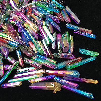 a lot of Lemurian Titanium Rainbow Aura Quartz Crystal Point healing 50g H226