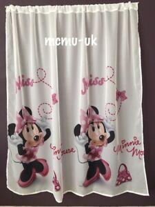 Disney-Voile-Netz-Vorhang-Minnie-Mouse-Maus-in-Rosa-150-cm-Breite-X-150-Drop