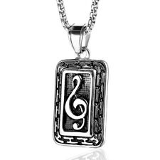 Stainless Steel Guitar G Clef Pendant Treble Musical Note Symbol Necklace PE8