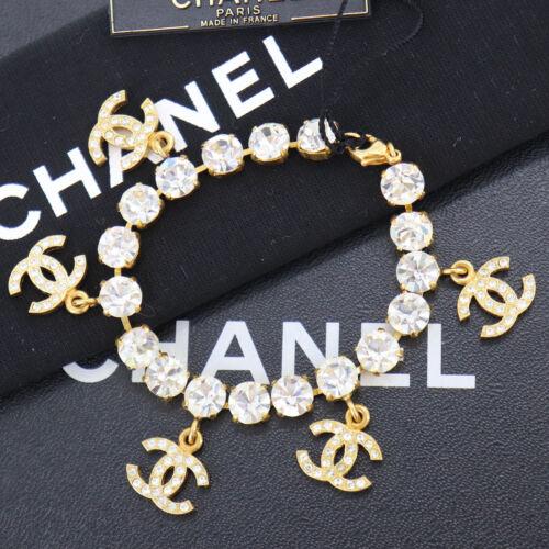 CHANEL CC Logos Chain Bracelet Rhinestone Gold 96