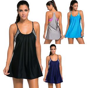 deef7cc3138c5 Flowing swim dress layered 1pc tankini top summer womens swimwear ...