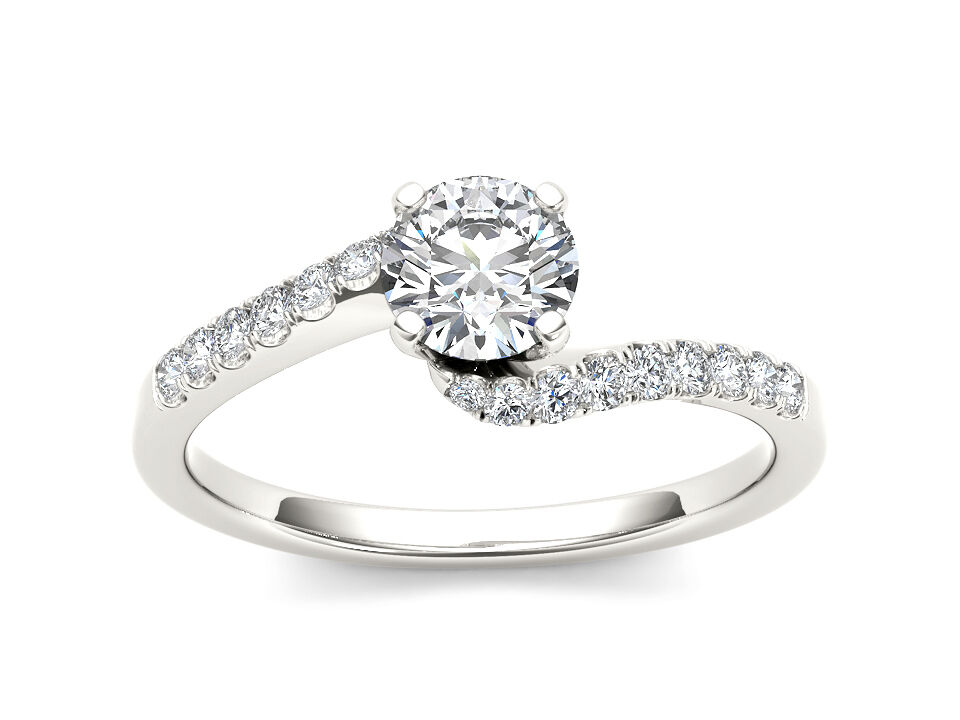 14K White gold 0.50 Ct Diamond Classic Solitaire Engagement Ring