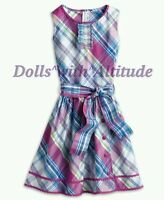 American Girl Purple Pink Blue Plaid Party Spring Summer Dress For Girls 8