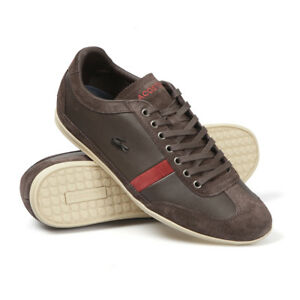 834a1cb6844e4b Lacoste Men Misano 22 LCR Sneakers Dk. Brown Leather Shoes Size 8