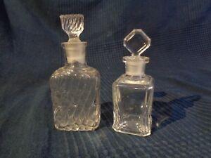 Packung 2 Flaschen Parfüm Antik aus Glas Kristall Ohne Marke