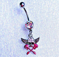 Skull And Guitar Dangle Belly Button Ring Stainless Steel 14 Guage B184