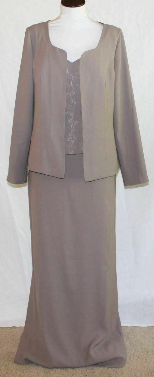 NEW Bella Formals Mother of Bride Dress Gown & Jacket Outfit 12 Light Brown
