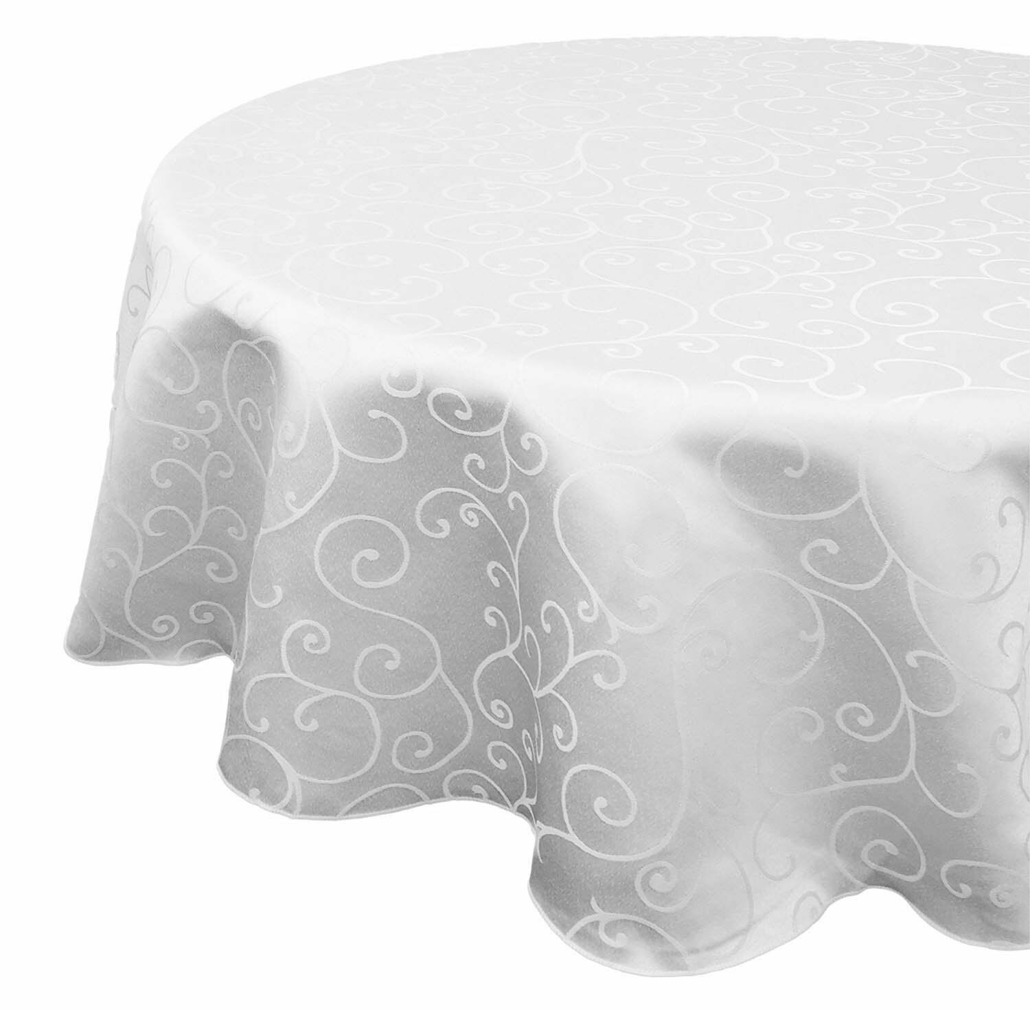 Tablecloth White Round Damask Polyester Cover Dining Table Cloth Swirl 70 inch