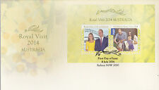 2014 Royal Visit by William, Catherine & Prince George (Mini Sheet) FDC