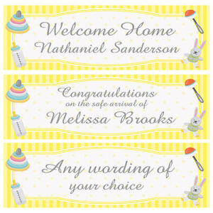 Details Zu 2 PERSONALISED BABY BANNERS SHOWER WELCOME HOME SAFE ARRIVAL ETC
