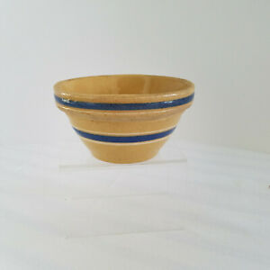 Antique-Small-Yellow-Ware-Stoneware-Bowl-Blue-Banded-5-25-034-Very-Good-Condition