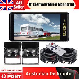 "9"" Rear view Mirror Monitor 12V 24V 2x Reversing CCD Camera Kit 4PIN Car Caravan"