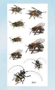US Seller- realistic fake tattoos 3D bees insects temporary tattoo ...