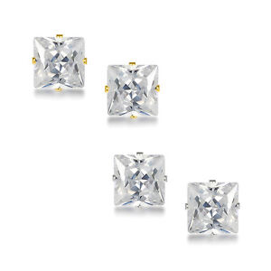 14k-Solid-Yellow-or-White-Gold-Square-Princess-Cut-CZ-Stud-Earrings-All-Size-039-s