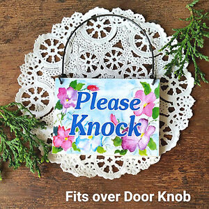DecoWords-PLEASE-KNOCK-Privacy-Sign-Petite-Fits-over-Door-Knob-New-USA