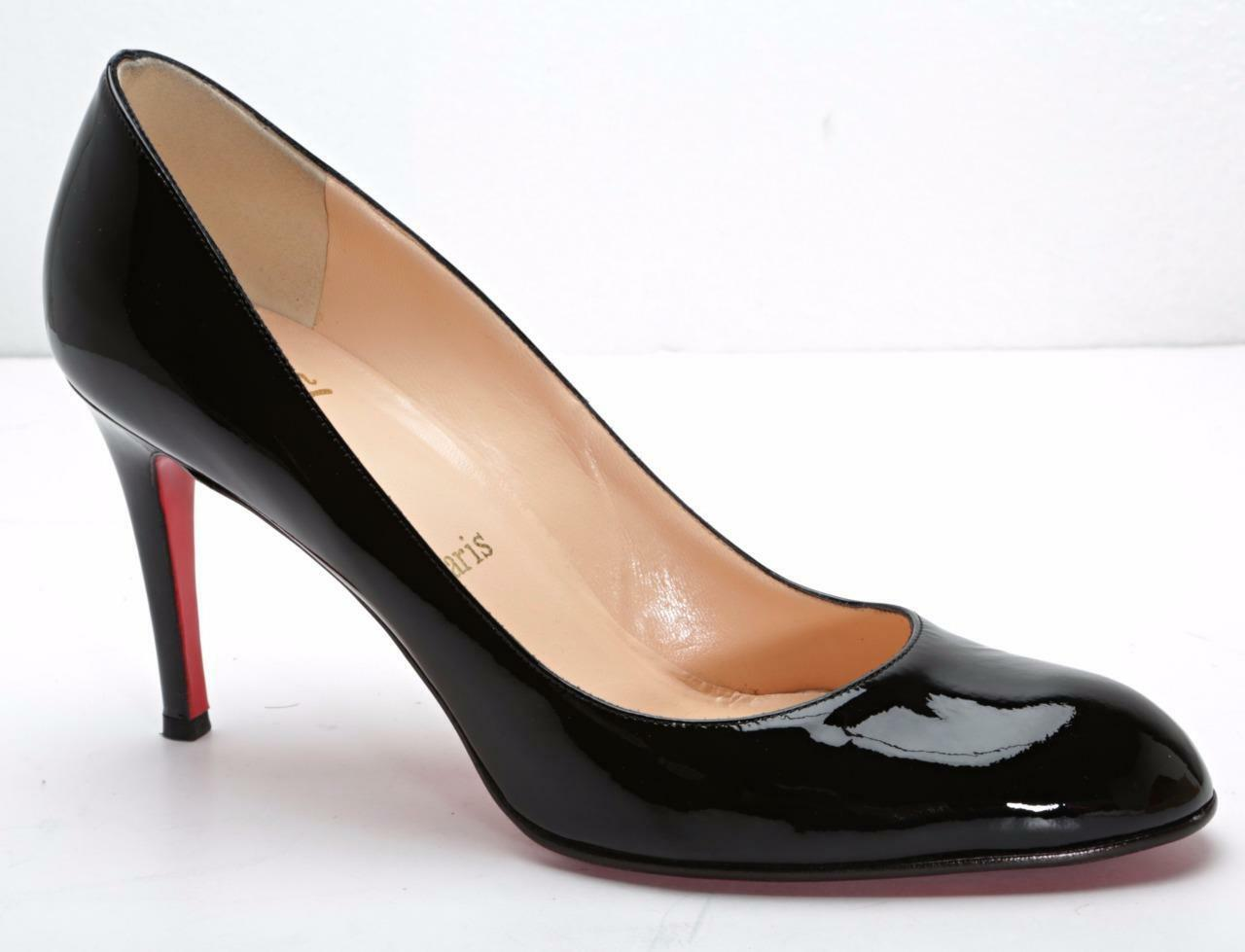 CHRISTIAN LOUBOUTIN Womens Black Patent-Leather Round-Toe Classic Pumps 9-39 NEW