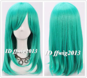 FREE SHIPPING New Fashion Teal green 50cm long straight Cosplay Wig +a wig cap